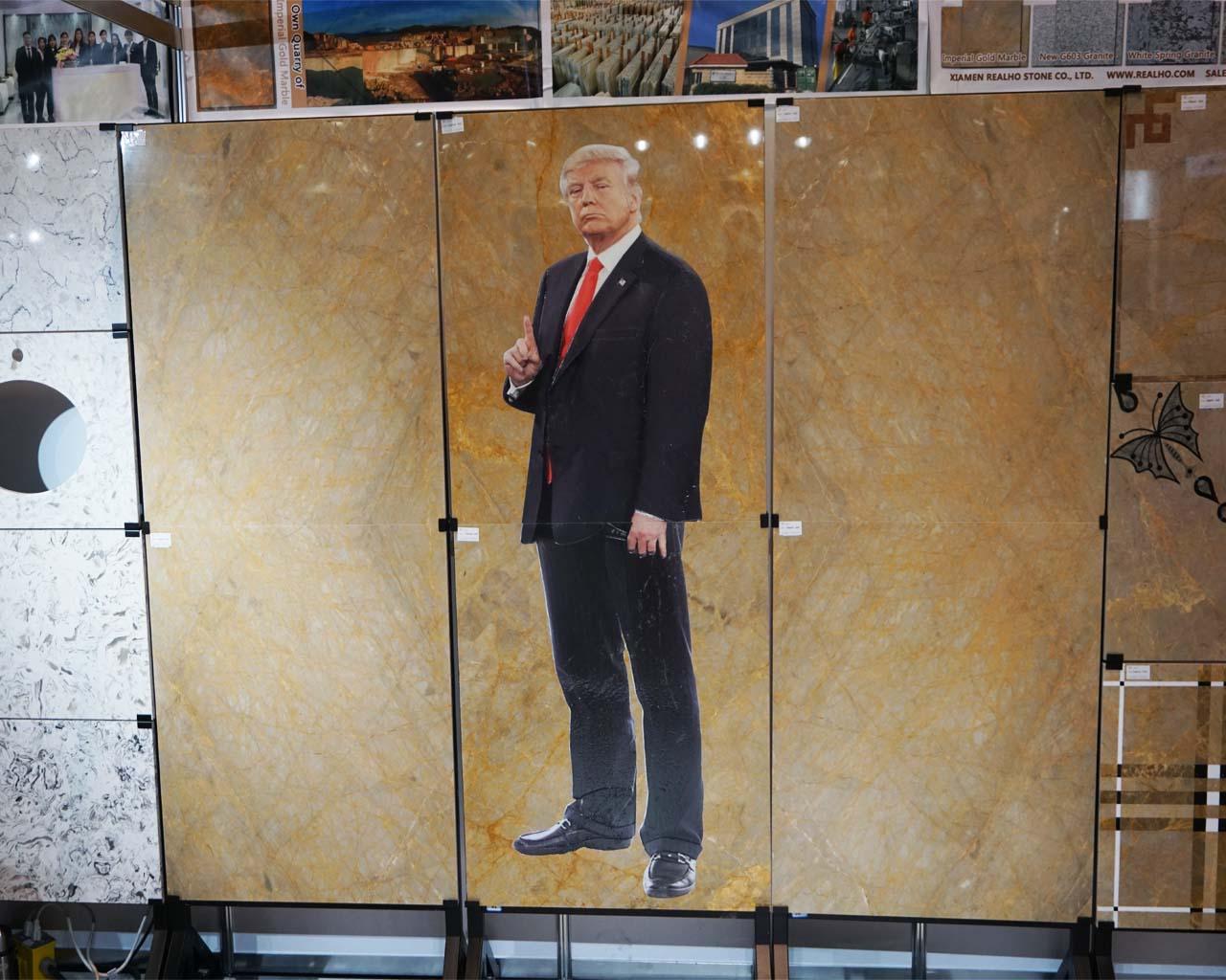US-Präsident Trump auf Marmor (gesehen bei einem chinesischen Naturstein-Anbieter)