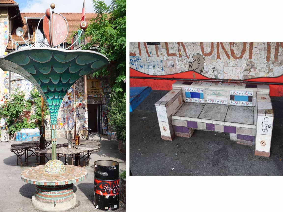 mit Fliesen dekorierte Outdoor-Möbel in Metelkova in Ljubljana /Slowenien