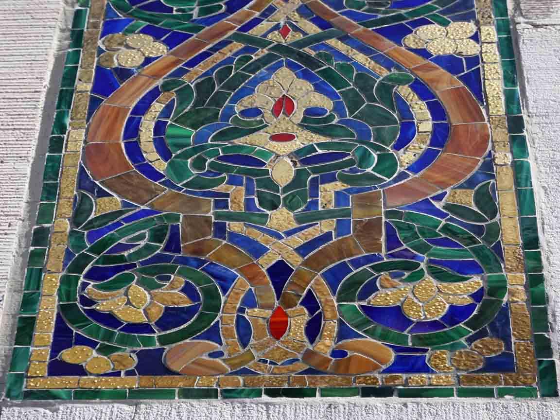 Keramische Dekoration an der Außenwand der Yenidze in Dresden