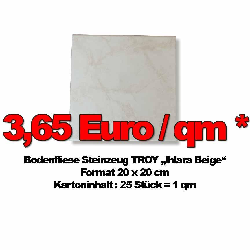 """Bodenfliese Troy """"Ihlara Beige marmoriert"""", Format 20x20cm zum Sonderpreis"""