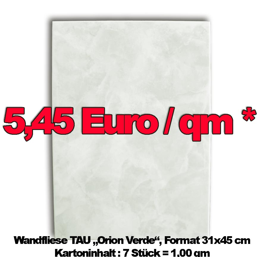 Tau Gres Wandfliese Orion Verde, Format 31x45cm