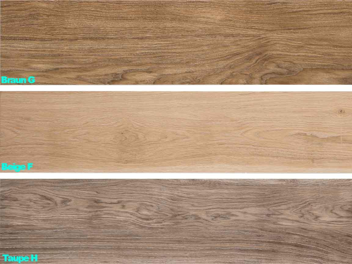 Übersicht einer Holzoptik-Serie im Format 25x150cm