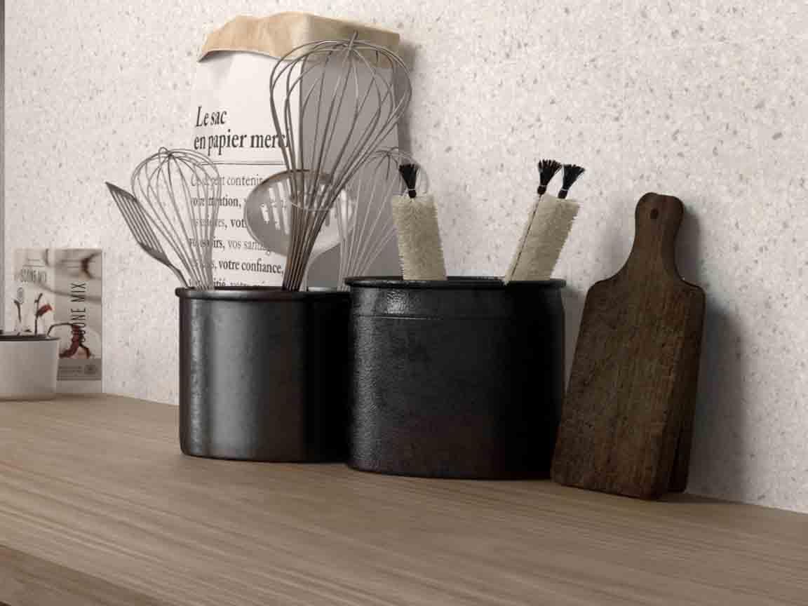 Terrazzo-Optik als Wandfliese für den Küchenspiegel im Format 20x20cm