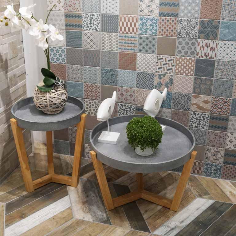 Fliesentrend 2018 : das Quadratformat als Wandliese und Patchwork-Dekoren