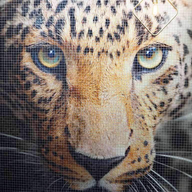 Vorsicht wild: Wandbild aus Mosaiksteinchen