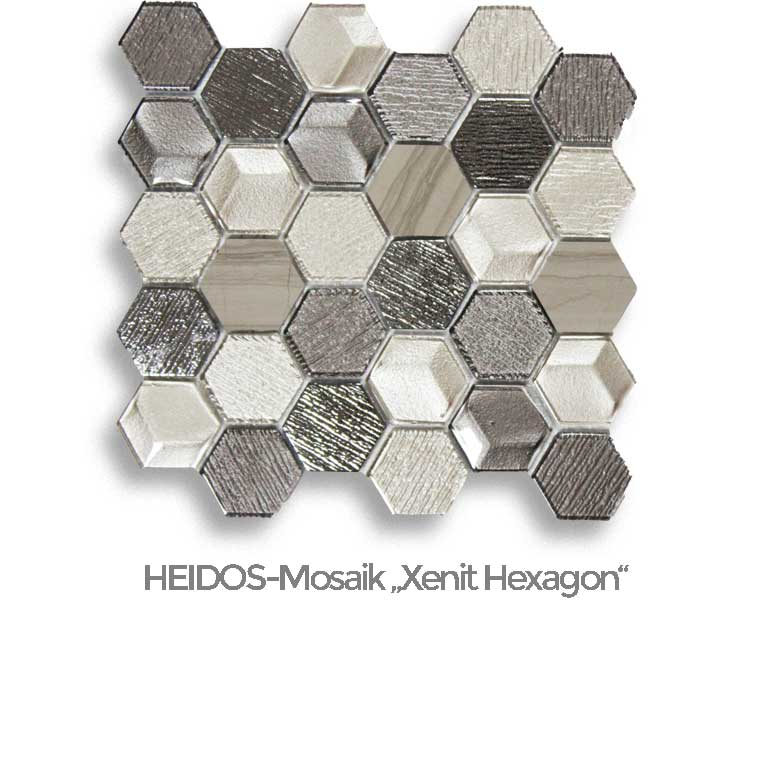 "Glasmosaik HEIDOS ""Xenit Hexagon"""