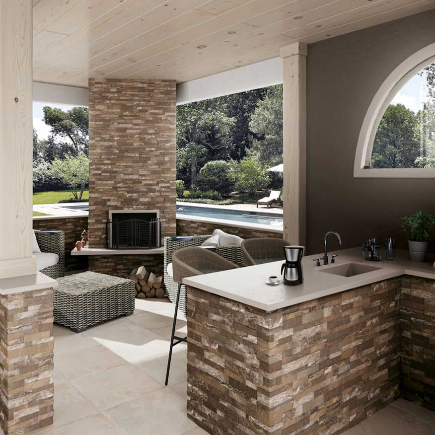 Für Ihre Outdoor-Küche oder Ihre Grillende haben wir die passenden frostsicheren Wandfliesen