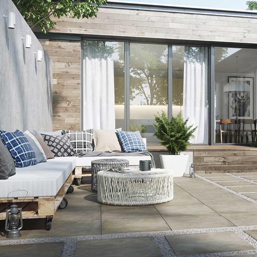 bei einem modernen Gartendesign darf der Betonlook nicht fehlen