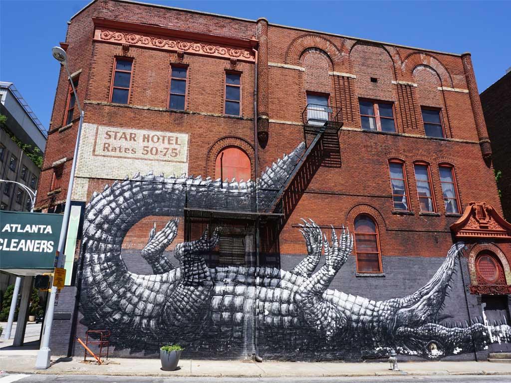 Alligator Mural in der Innenstadt von Atlanta