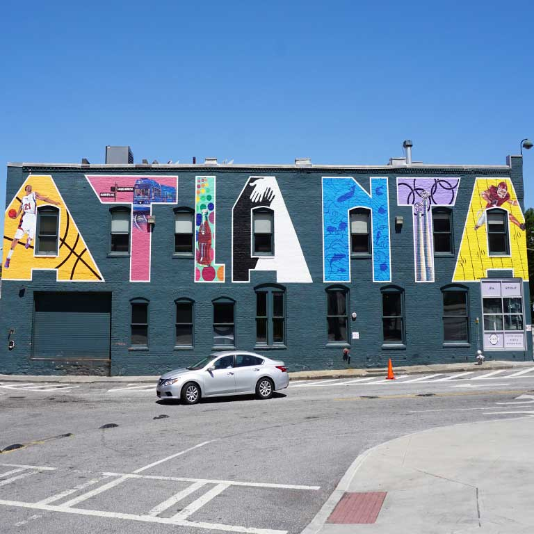 "Mural ""ATLANTA"" in Atlanta in Georgia, USA"