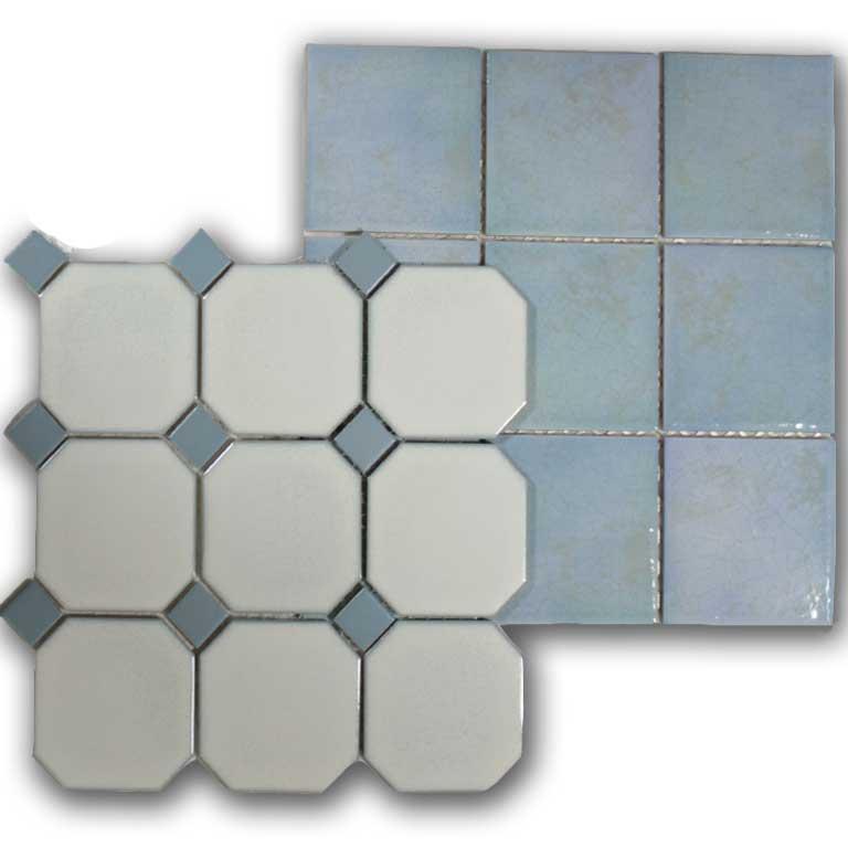 keramische Mosaike in maritimen Farben
