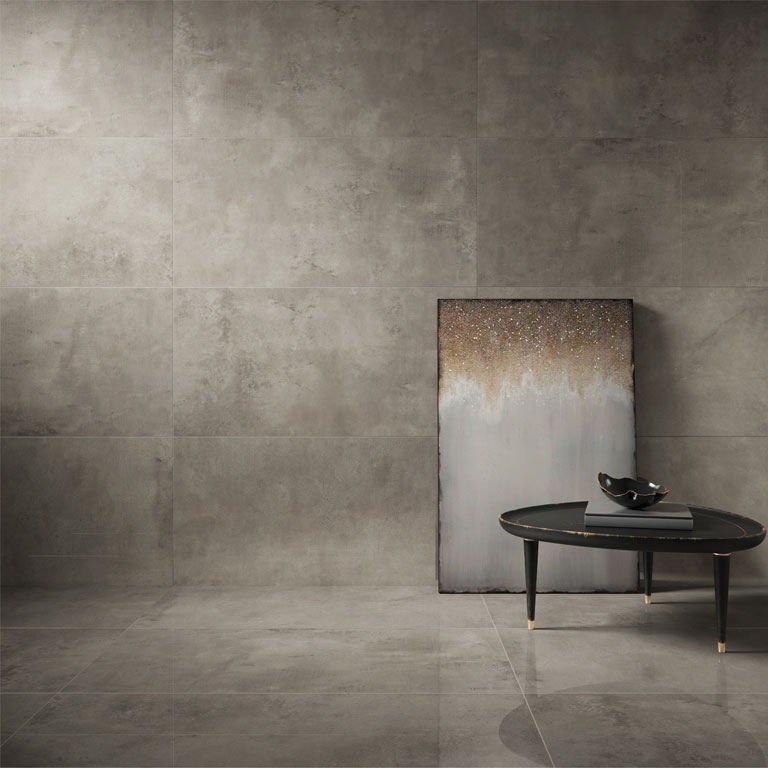 "polierte Betonoptik ""Concreto Aparento polished"", im Format 60x120cm in der Trendfarbe Taupe"