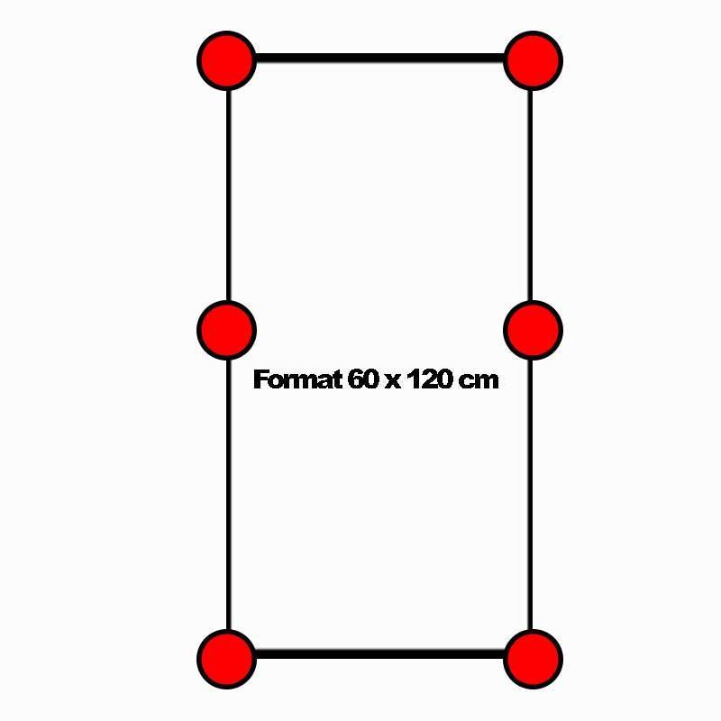 Lage und Anzahl von Stelzlagern bei einer Feinsteinzeugfliese im Format 60x120cm in 2cm Stärke
