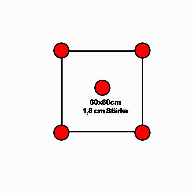Lage und Anzahl der Stelzlager bei einer Feinsteinzeugfliese im Format 60x60cm und 1,8cm Stärke