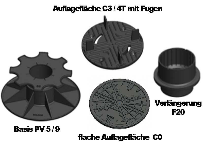 Solidor Stelzlager PV 5/9 mit Auflagen C3/4T (mit Fugen) und C0 (flach) und optionaler Verlängerung F20