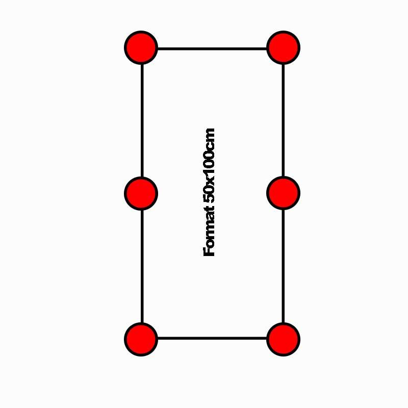 Skizze für die Lage und den Verbrauch von Stelzlagern bei Terrassenplatten und Balkonfliesen aus Feinsteinzeug in 2cm Stärke im Format 50x100cm