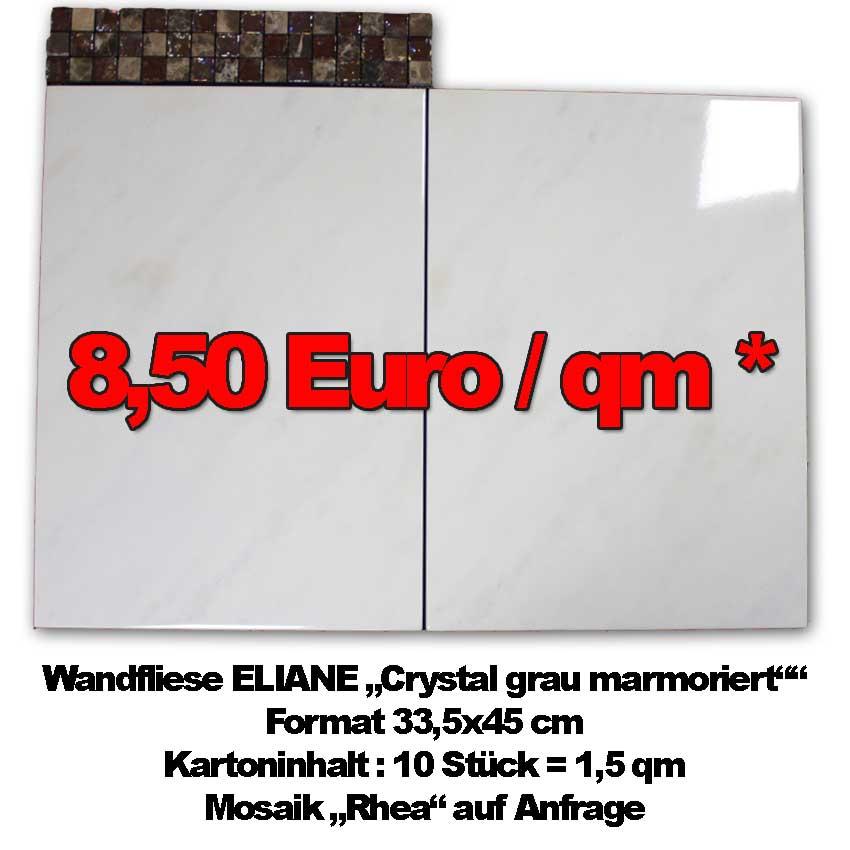 "klassische Wandfliesen Eliane ""Crystal grey"" zum Sonderpreis"