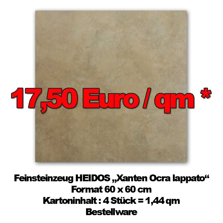 "Feinsteinzeug HEIDOS ""Xanten Ocra"" mit halbpolierter Oberfläche"