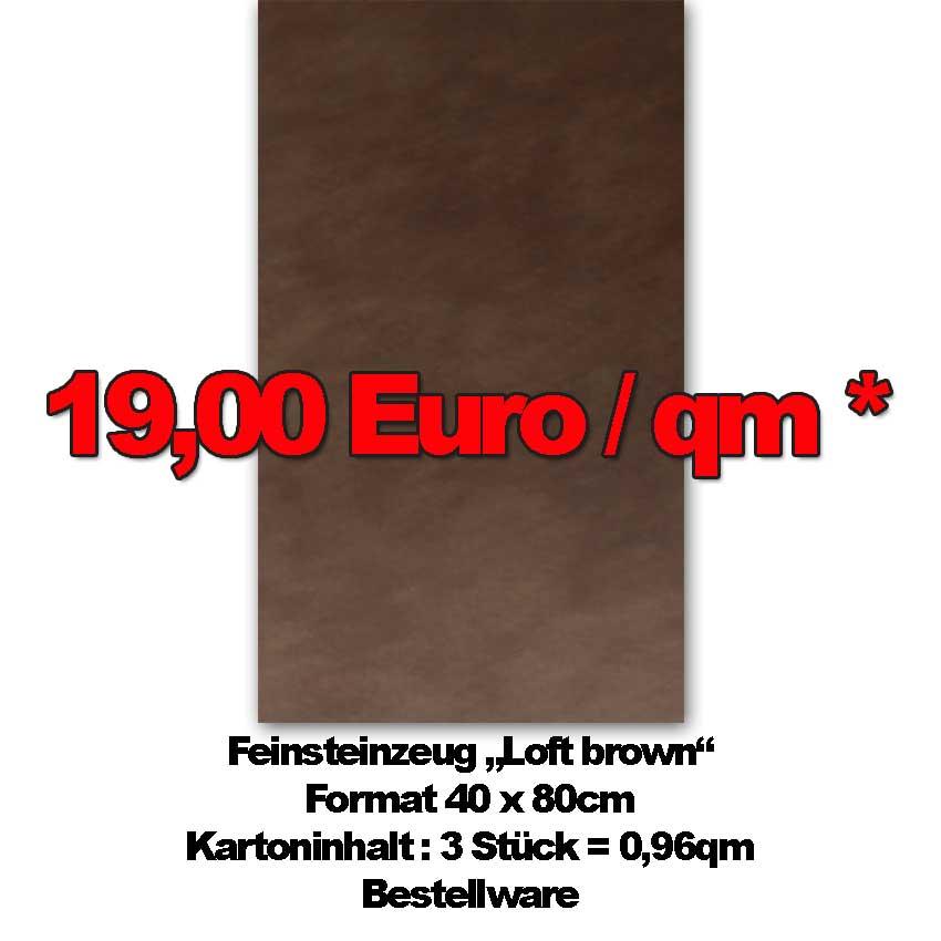 """Feinsteinzeug """"Loft Brown"""" im Format 40x80cm zum Sonderpreis"""