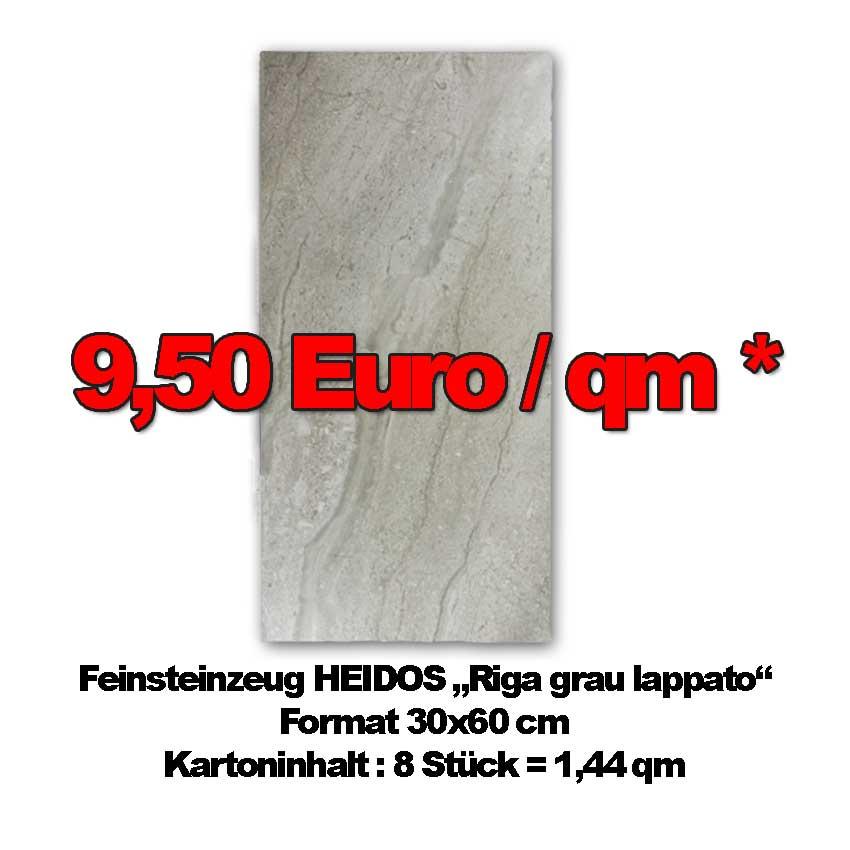 """Feinsteinzeug HEIDOS """"Riga Grau"""" mit halbpolierter Oberfläche"""