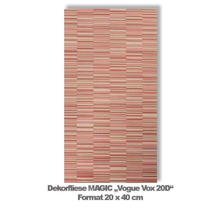"""Dekorfliese MAGIC """"Vogue Vox 20D"""" in den Farben der Korallen"""