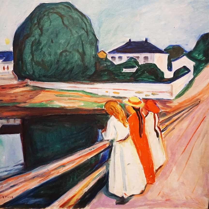 Mädchen auf der Brücke von Edvard Munch - gesehen im Folkwang Museum in Essen