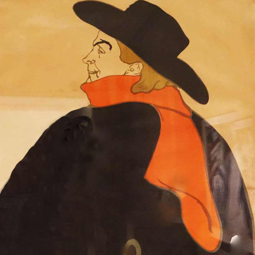 Aristide Bruant (Der Mann mit dem roten Schal) von Toulouse-Lautrec im Art Institute Chicago