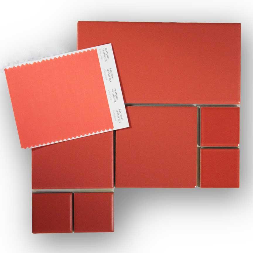 """Fliesen im Farbton """"Living Coral"""" im Format 5x5cm, 10x10cm und 10x20cm in matter und glänzender Oberfläche"""