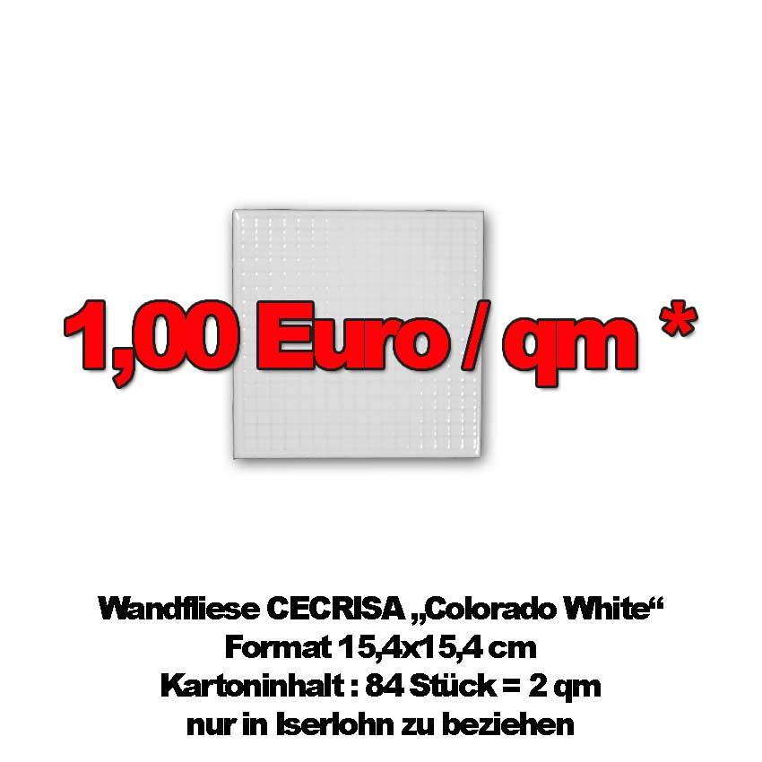 """1-Euro-Fliese """"Colorado White"""""""
