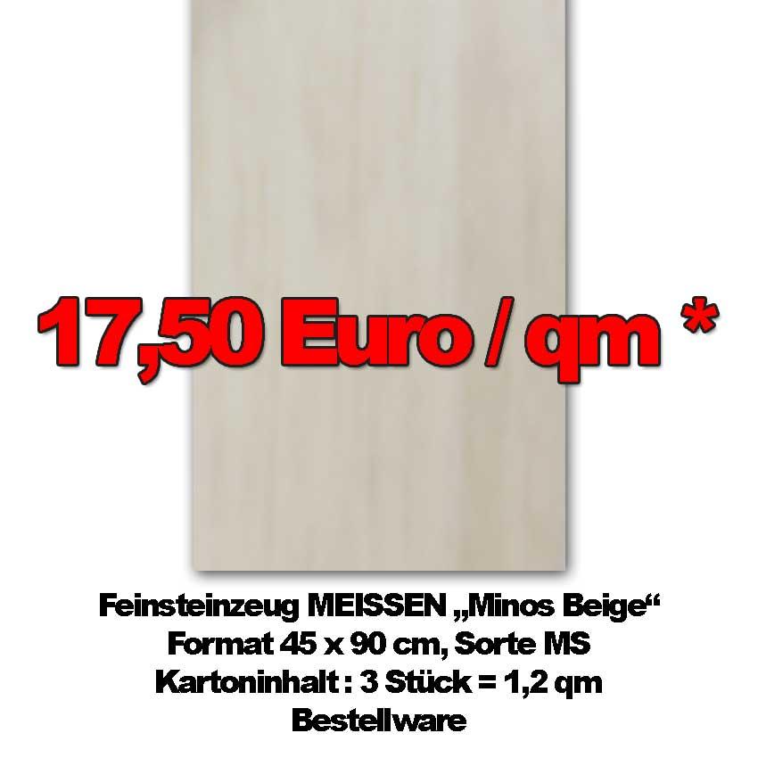 """Abverkauf der Bodenfliese MEISSEN """"Minos Beige"""" im Format 45x90cm zu Sonderpreisen"""