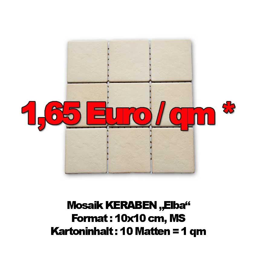 "Mosaikfliesen Keraben ""Elba"", Format 10x10cm, MS zum Sonderpreis"
