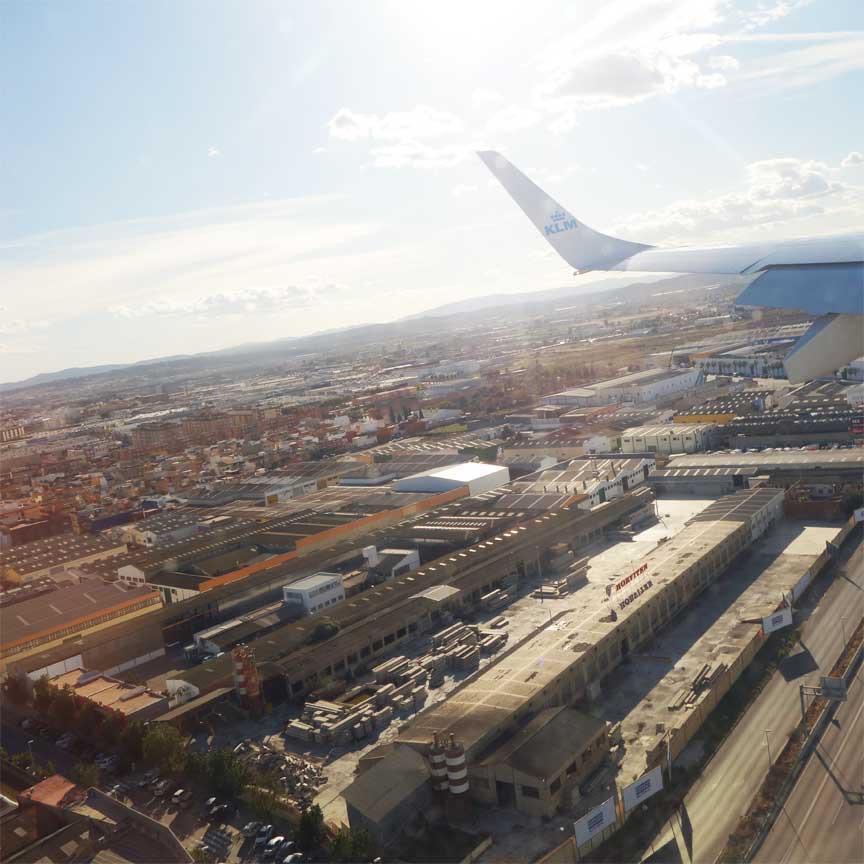 Auf geht`s zur CEVISAMA 2019! Landeanflug auf Valencia, Spanien