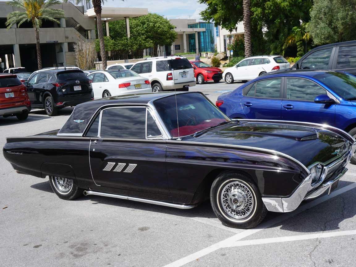 Leider nicht unser Mietauto in Florida : US-classic-car Ford Thunderbird (gesehen auf einem Parkplatz in der Tampa Bay)