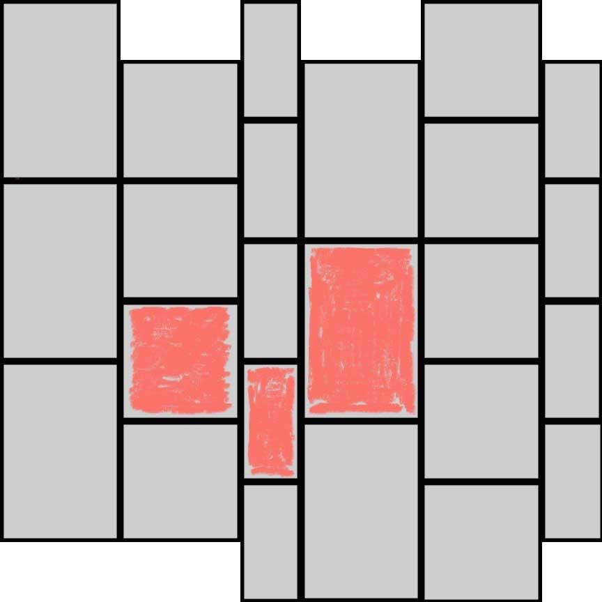 """(Abbildung R03B) Verlegebeispiel eines Mischverbandes der Serie """"Rodeo"""" in Bahnen mit drei Formaten : Format 33x49,5 : 50% und Format 33x33cm : 33,3% und Format 33x16,5cm : 16,7%"""