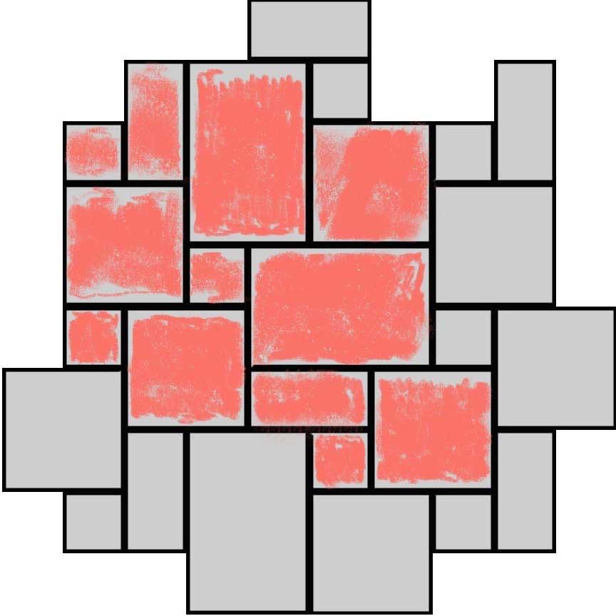 """(Abbildung R04R) Verlegebeispiel eines Mischverbandes für die Serie """"Rodeo"""" mit vier Formaten : Format 33x49,5cm : 33,3% und Format 33x33cm : 44,5% und Format 33x16,5cm : 11,1% und Format 16,5x16,5cm : 11,1%"""