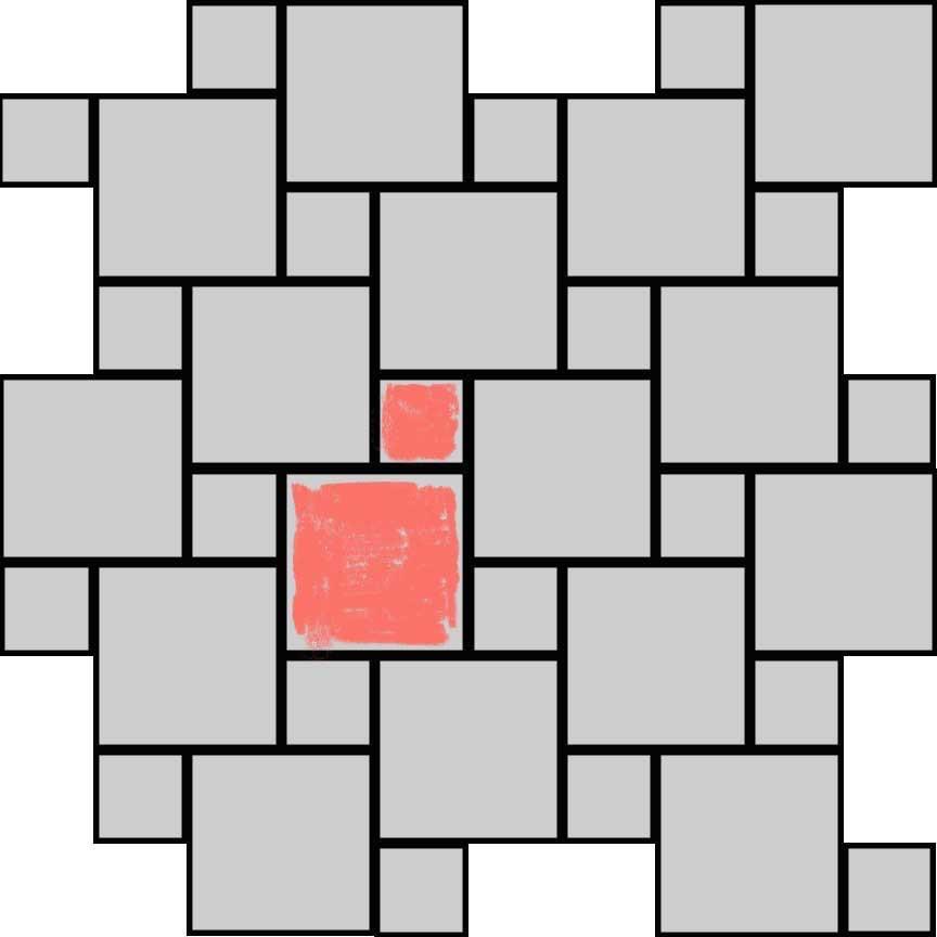 """(Abbildung R02E) Verlegebeispiel eines Mischverbandes für die Serie """"Rodeo"""" mit zwei Formaten : Format 33x33cm : 77,8% und Format 16,5x16,5cm : 22,3%"""