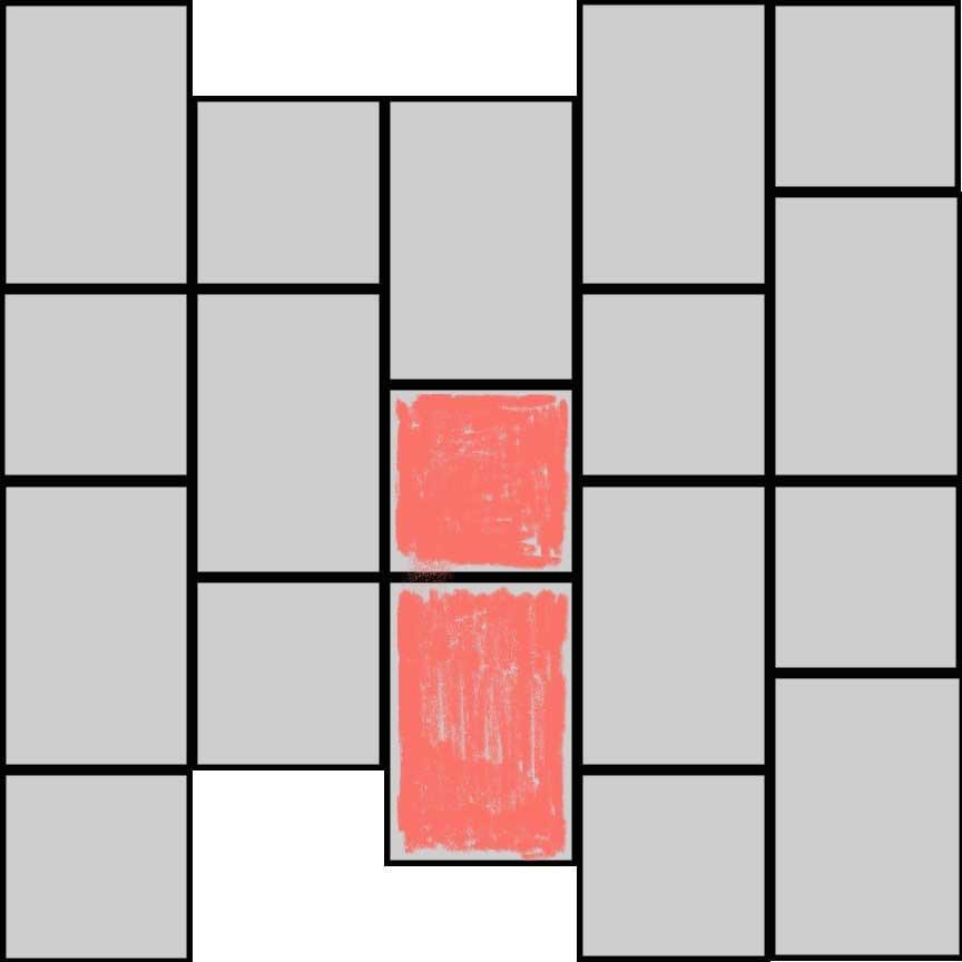 (Abbildung R02B) einfacher Bahnenverband mit zwei Formaten : Format 33x33cm : 47,3% und Format 33x49,5cm : 42,7%