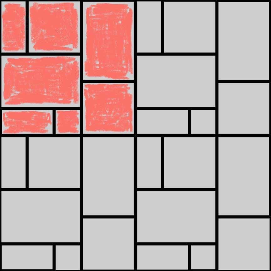 """(Abbildung R04Q) Verlegebeispiel eines Mischverbandes für die Serie """"Rodeo"""" mit vier Formaten : Format 33x49,5cm : 48,7% und Format 33x33cm : 32,7% und Format 33x16,5cm : 16,2% und Format 16,5x16,5cm : 2,7%"""