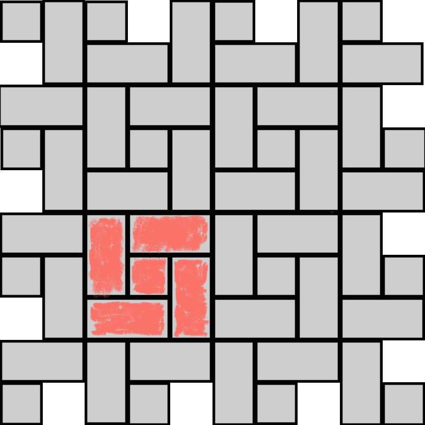 """(Abbildung R02Q) Verlegebeispiel eines Mischverbandes für die Serie """"Rodeo"""" mit zwei Formaten : Format 33x16,5cm : 88,9% und Format 16,5x16,5cm : 11,1%"""