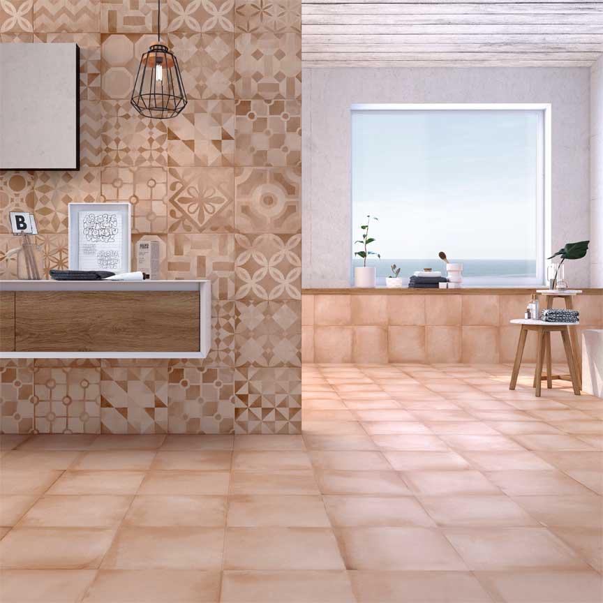 Mit Terracotta Fliesen im Badezimmer gestalten Sie eine angenehme warme Umgebung
