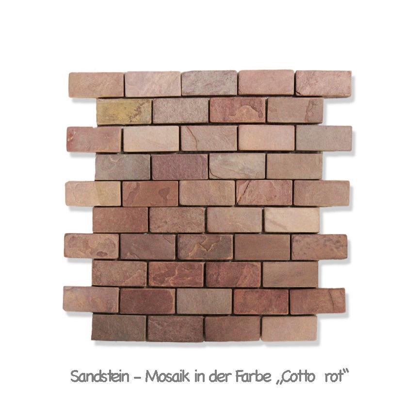 In unserem Sortiment führen wir auch ein Naturstein-Mosaik aus Sandstein im typischen Terracotta-Farbton