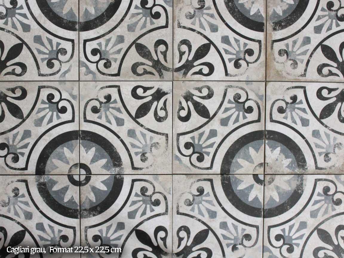 "Zementfliesen-Optik ""Cagliari grau"" im Format 22,5x22,5cm : die perfekte Shabby Chic Optik"