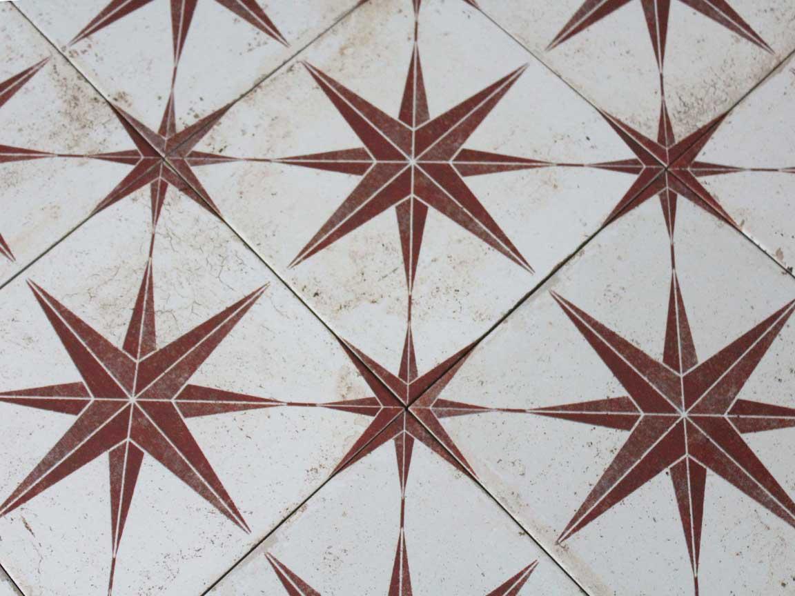 "Zementfliesen-Optik ""Orion rot"" im Format 22,5 x 22,5 cm"