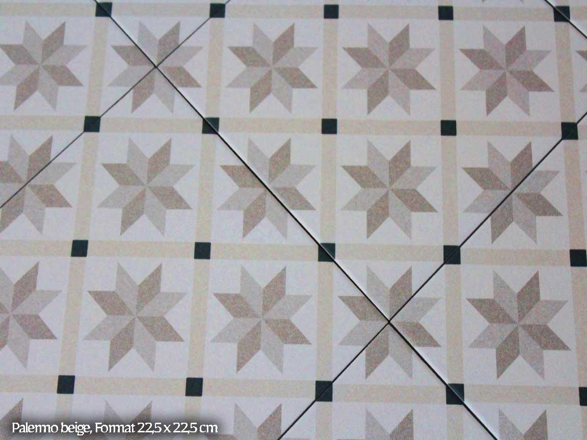 "Zementfliesen-Optik ""Palermo beige"" im Format 22,5x22,5cm"