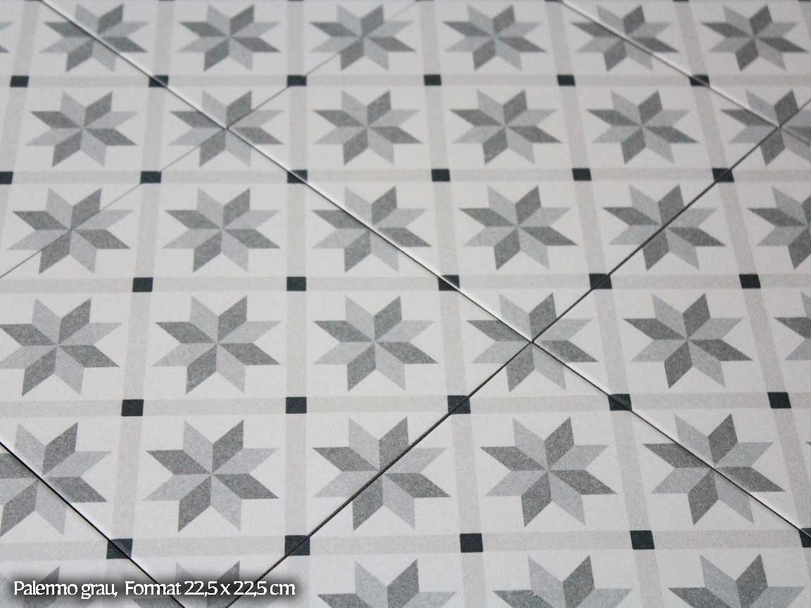 "Zementfliesen-Optik ""Palermo grau"" im Format 22,5x22,5cm"