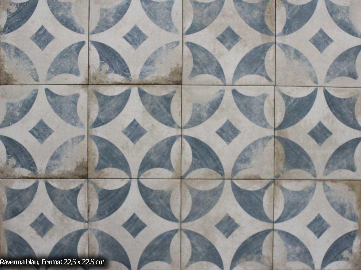 "Zementfliesen-Optik ""Ravenna Blau"" im Format 22,5x22,5cm = der perfekte Used-Look"