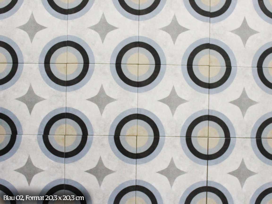 "Zementfliesen-Optik ""Blau 02"" im Format 20,3x20,3 cm"