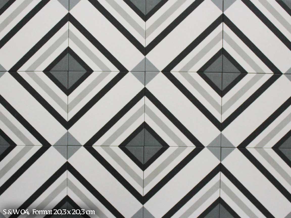 """Zementfliesen-Optik """"S&W 04"""" im Format 20,3x20,3 cm"""