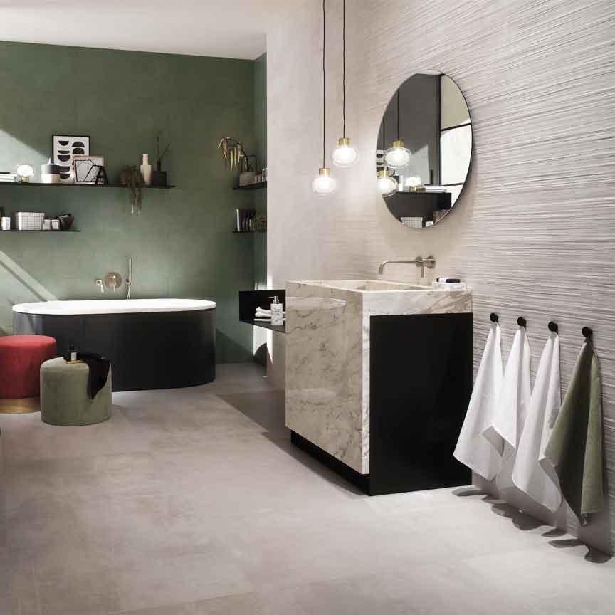 "Ein Hingucker in jedem Bad : die Betonoptik-Wandfliese im Farbton ""sage"""