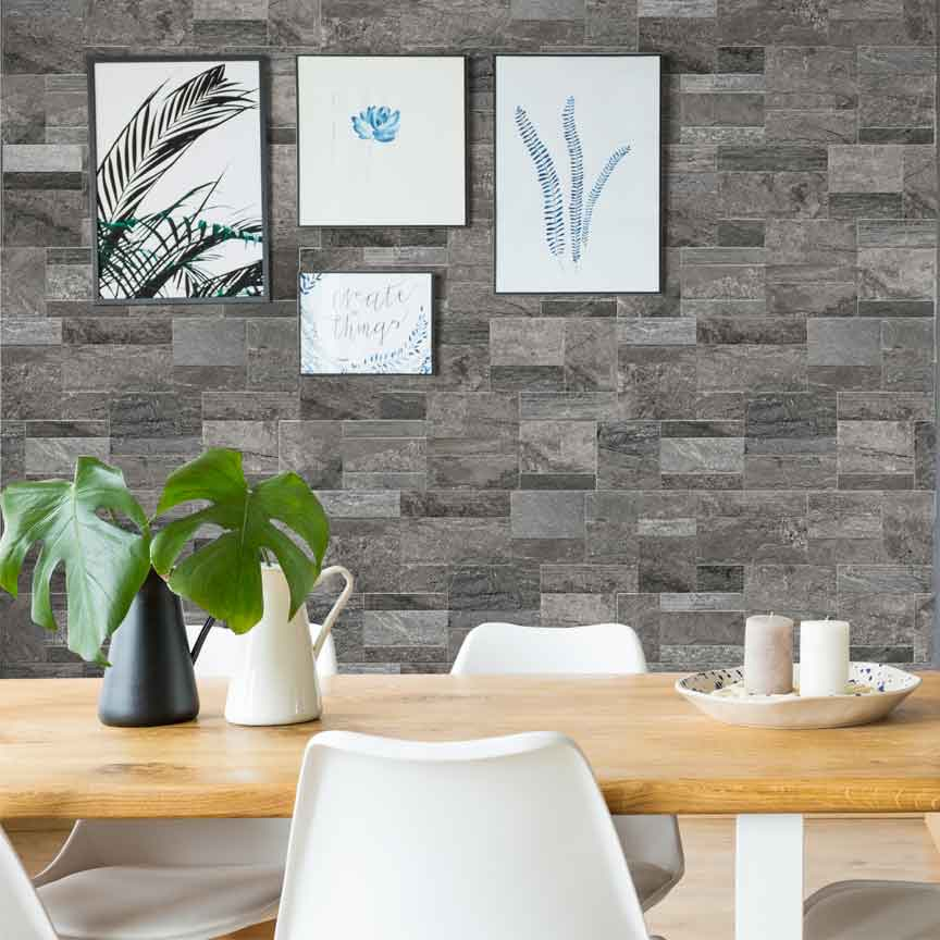 Verblender in einer Stein- /Felsoptik sind eine ideale Wandverkleidung für Fans des Urban Jungle Trends